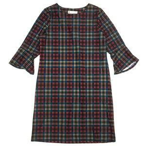 Jude Connelly Margot shift dress 3/4 sleeve plaid